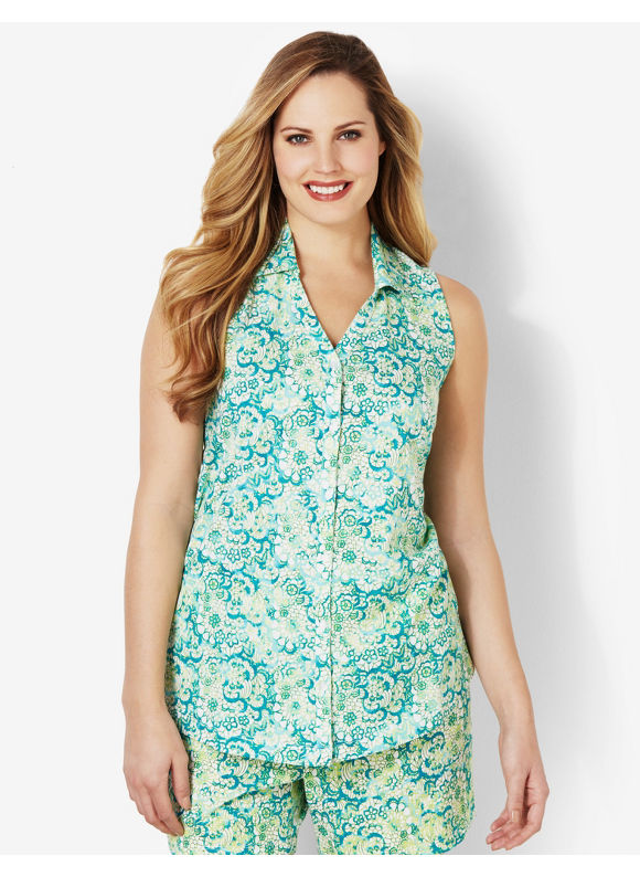 Image of Catherines Plus Size Wildflower Sleep Tank  Womens Size 1X Green