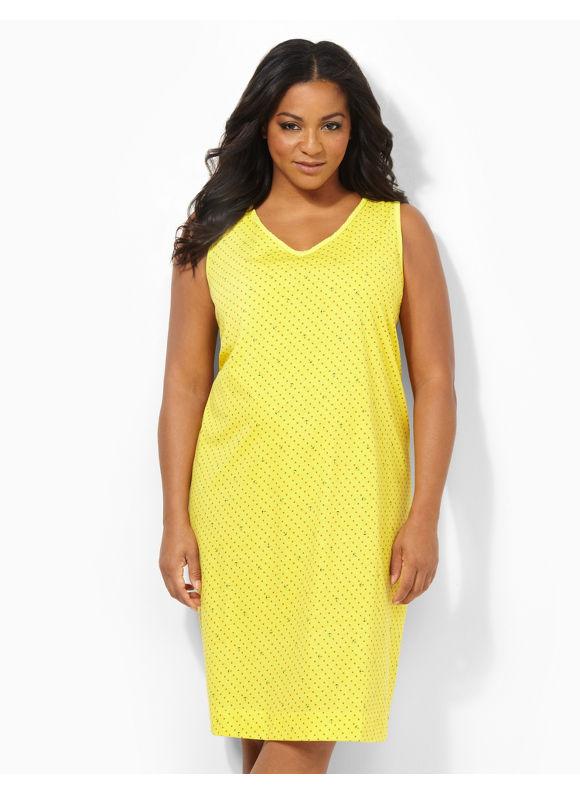 Image of Catherines Plus Size Braided Beauty Sleepshirt  Womens Size 0X Light Yellow