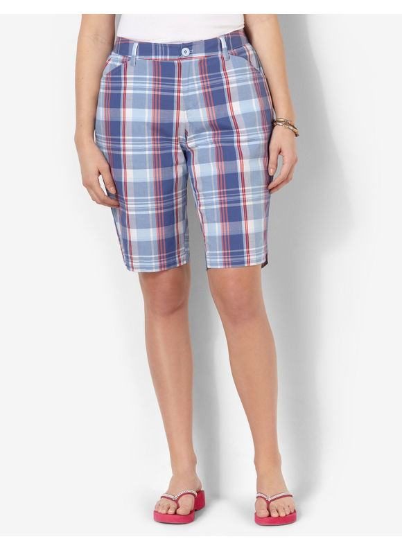 Catherines Plus Size Plaid Bermuda Short - Blue