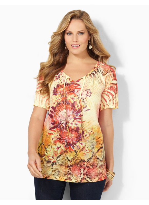 Image of Catherines Plus Size Sunset In Italy Top  Womens Size 1X Cayenne