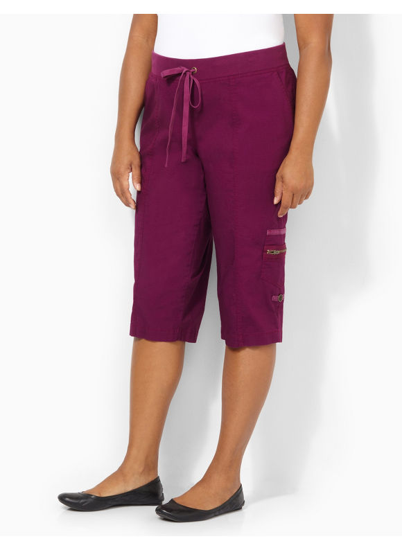 Image of Catherines Plus Size Ripstop Capri  Womens Size 1X Plumberry