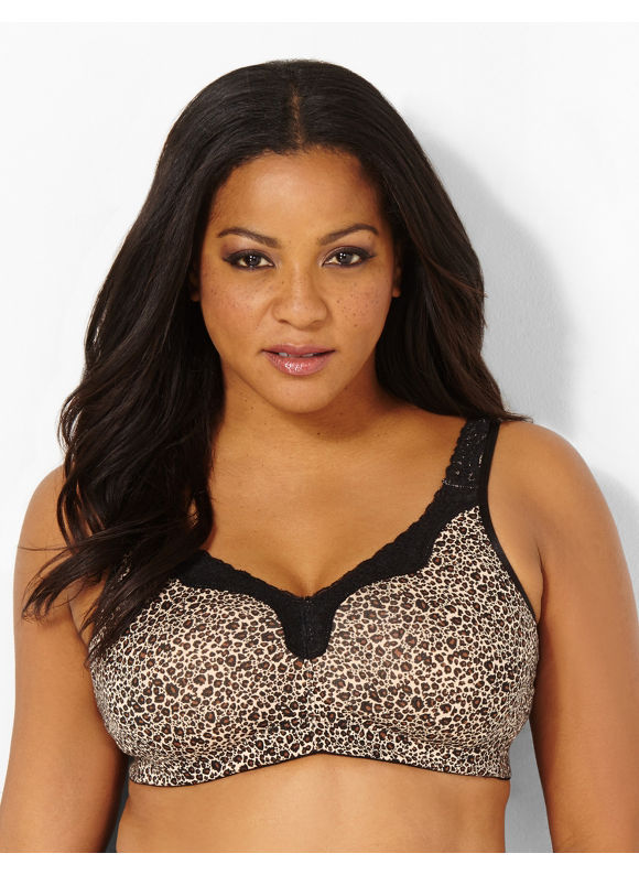 Image of Catherines Plus Size Leopard NoWire Cotton Comfort Bra  Womens Size 46DDD Black