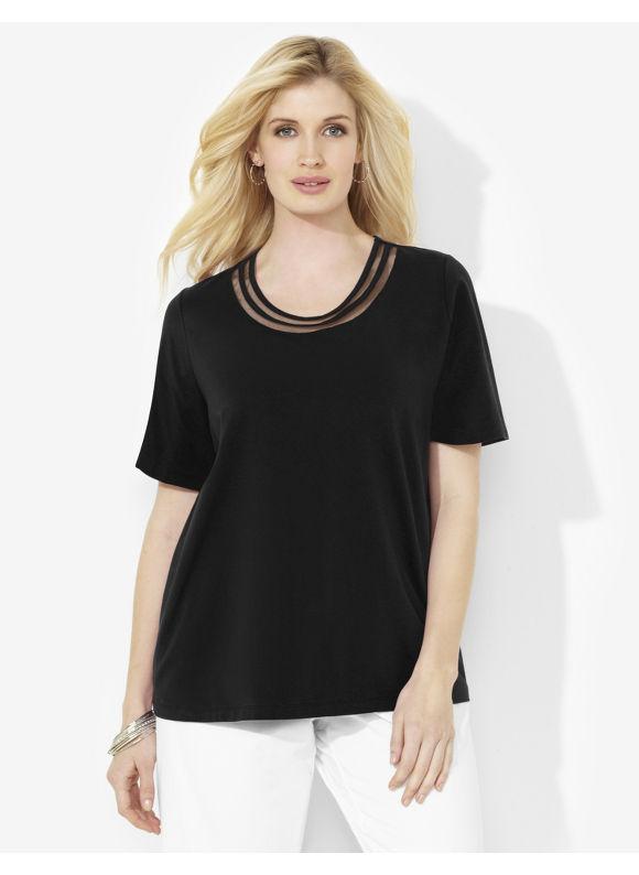 Image of Catherines Plus Size Suprema Double Mesh Scoopneck  Womens Size 2X Black