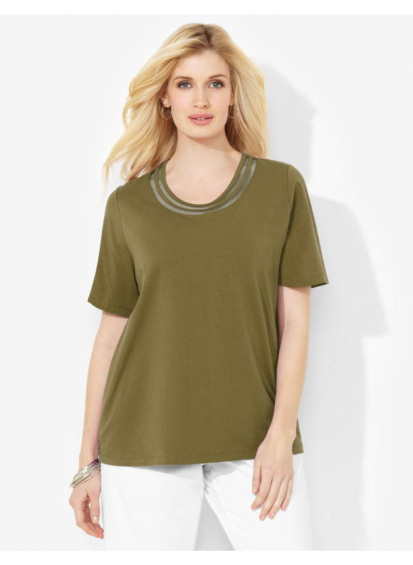 Image of Catherines Plus Size Suprema Double Mesh Scoopneck  Womens Size 0X Ivy Green