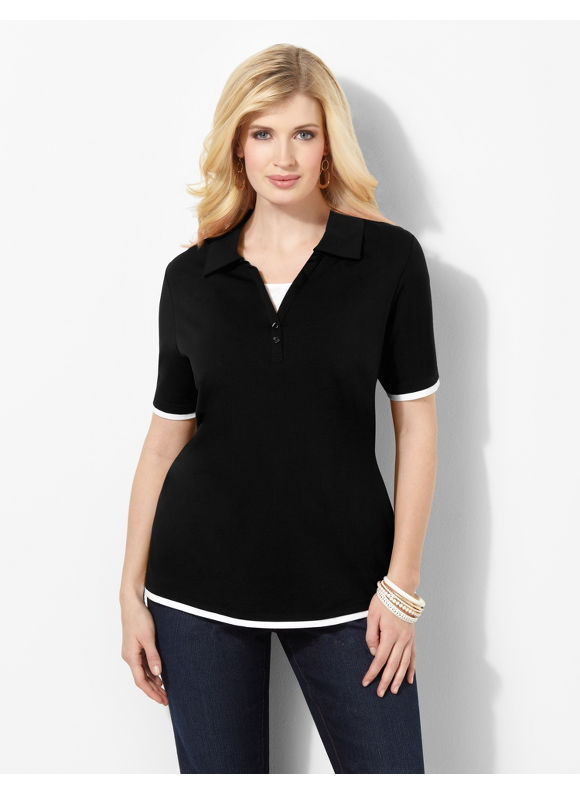 Image of Catherines Plus Size Suprema Johnny Collar Polo  Womens Size 3X Black