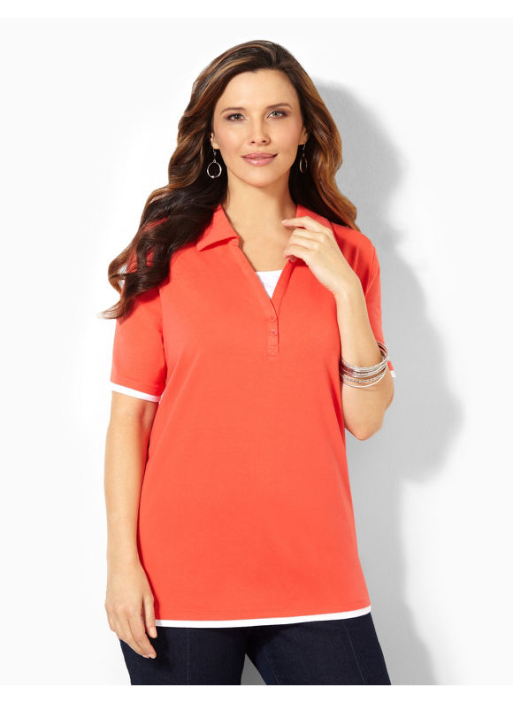 Image of Catherines Plus Size Suprema Johnny Collar Polo  Womens Size 0X Cayenne