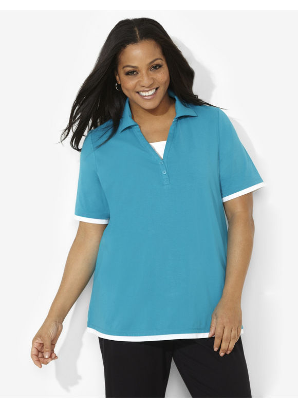Image of Catherines Plus Size Suprema Johnny Collar Polo  Womens Size 0X Enamel Blue