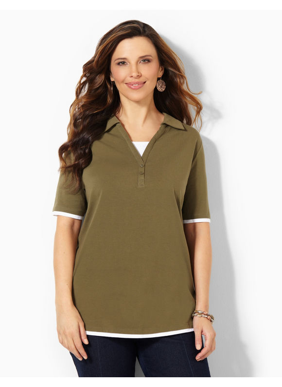 Catherines Plus Size Suprema Johnny Collar Polo -  Ivy Green