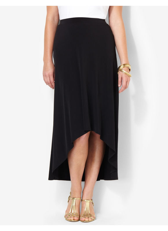 Image of Catherines Plus Size HiLow Skirt  Womens Size 3X Black