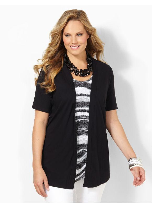 Image of Catherines Plus Size Cafe Cardigan  Womens Size 1X Black