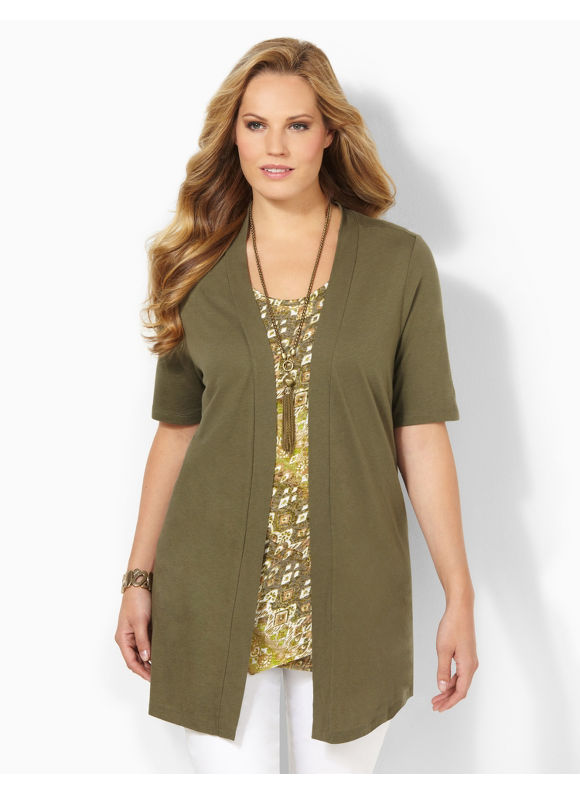 Catherines Plus Size Cafe Cardigan - Women's Size 0X, Ivy Green