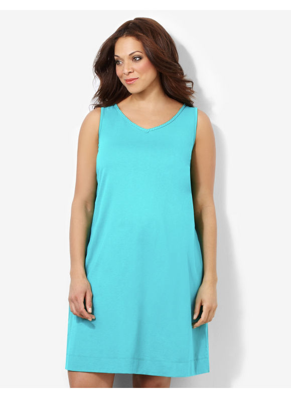 Catherines Plus Size Braided Beauty Sleepshirt - Aqua