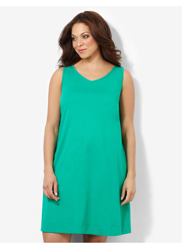 Catherines Plus Size Braided Beauty Sleepshirt - Green