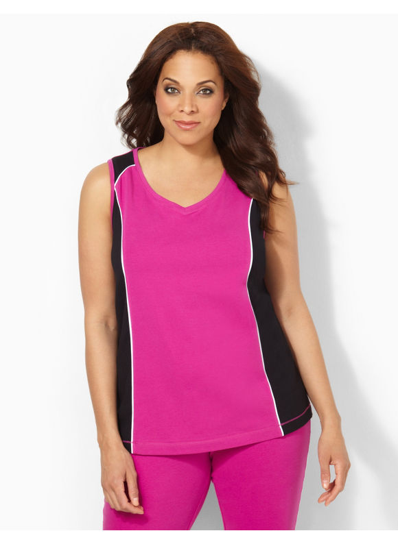 Image of Catherines Plus Size Colorblock Tank  Womens Size 1X Magenta