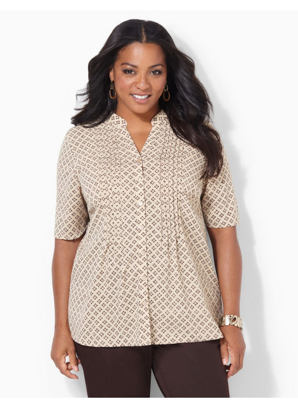 Image of Catherines Plus Size Diamond Fields Blouse  Womens Size 3X Desert Khaki