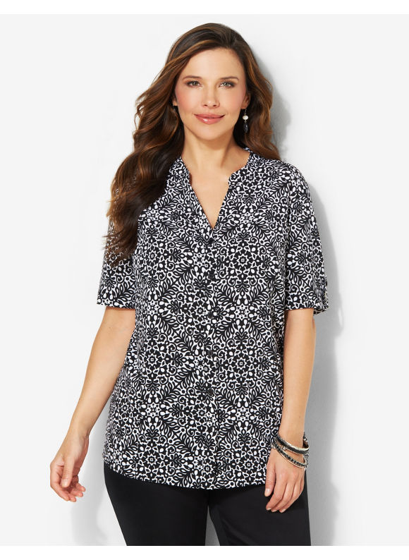 Image of Catherines Plus Size Touchstone Blouse  Womens Size 1X Black