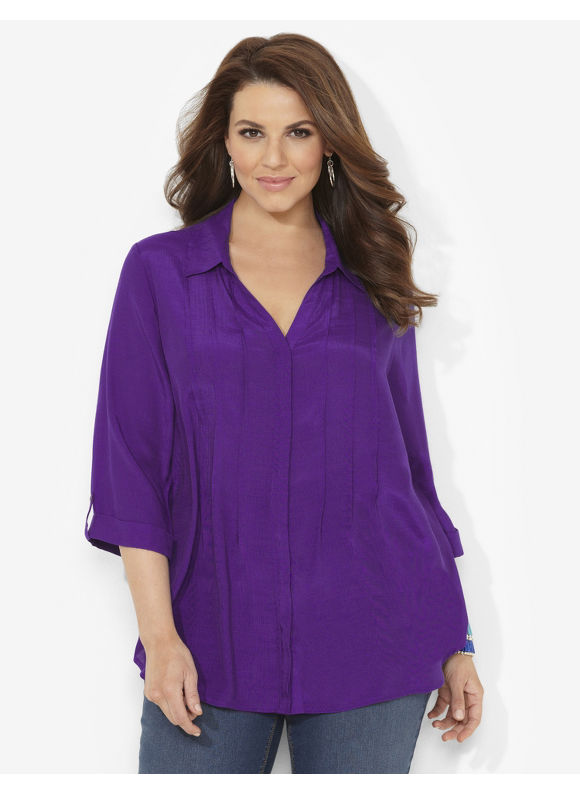 Image of Catherines Plus Size Bright Horizons Blouse  Womens Size 0X Violet