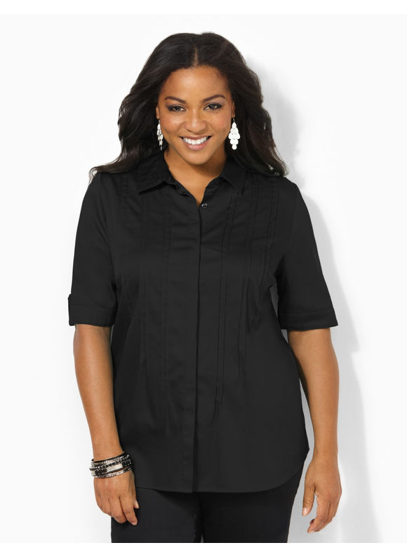 Image of Catherines Plus Size Pintuck Sateen Blouse  Womens Size 0X Black