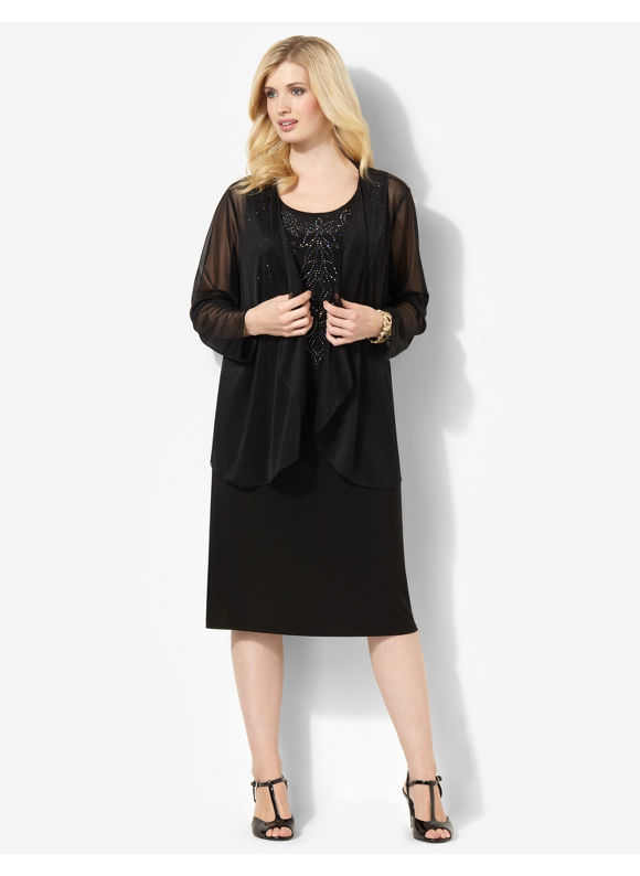 Plus Size Moonlight Jacket Dress Catherines Black