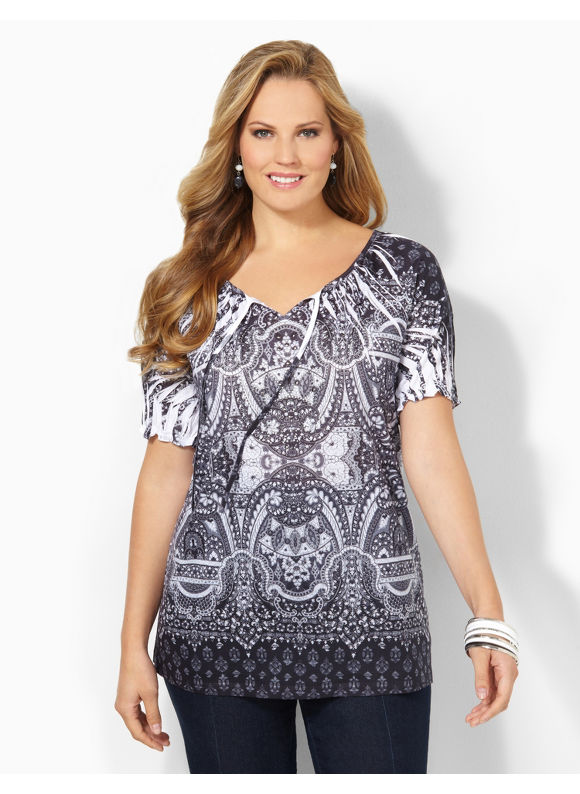 Image of Catherines Plus Size Cathedral Peasant  Womens Size 2X Black