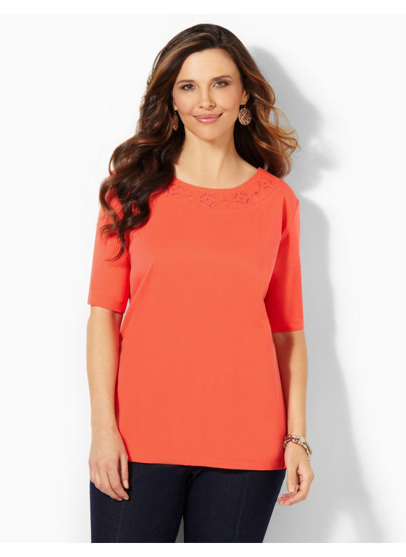 Image of Catherines Plus Size Twinkle Trim Top  Womens Size 0X Cayenne