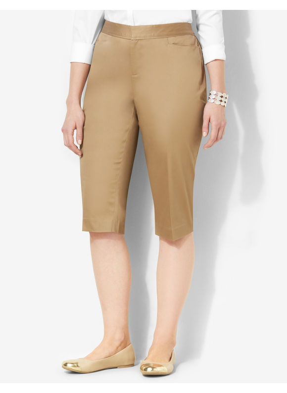 Image of Catherines Plus Size Secret Slimmer Sateen Capri  Womens Size 16W Desert Khaki