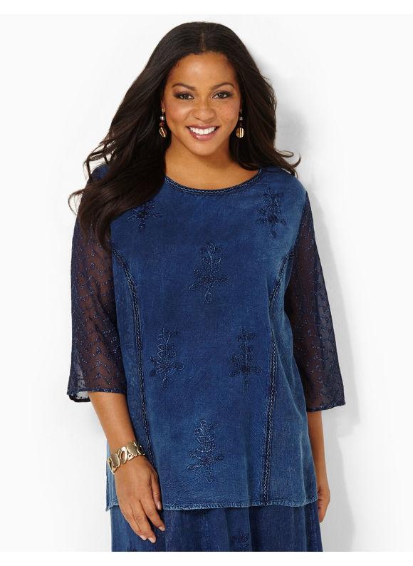 Image of Catherines Plus Size Harmony Top  Womens Size 3X Indigo
