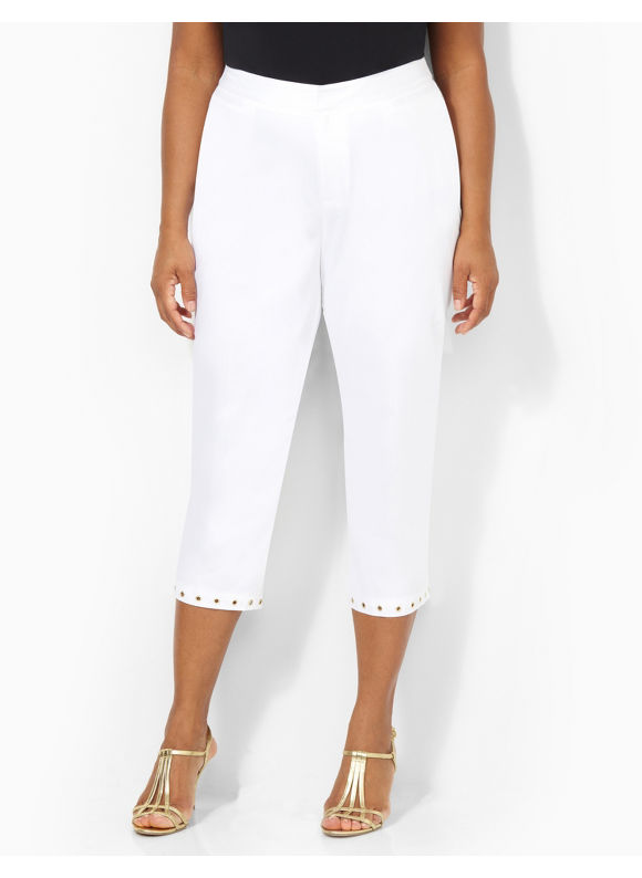 Image of Catherines Plus Size Impromptu Crop Pant  Womens Size 16W White