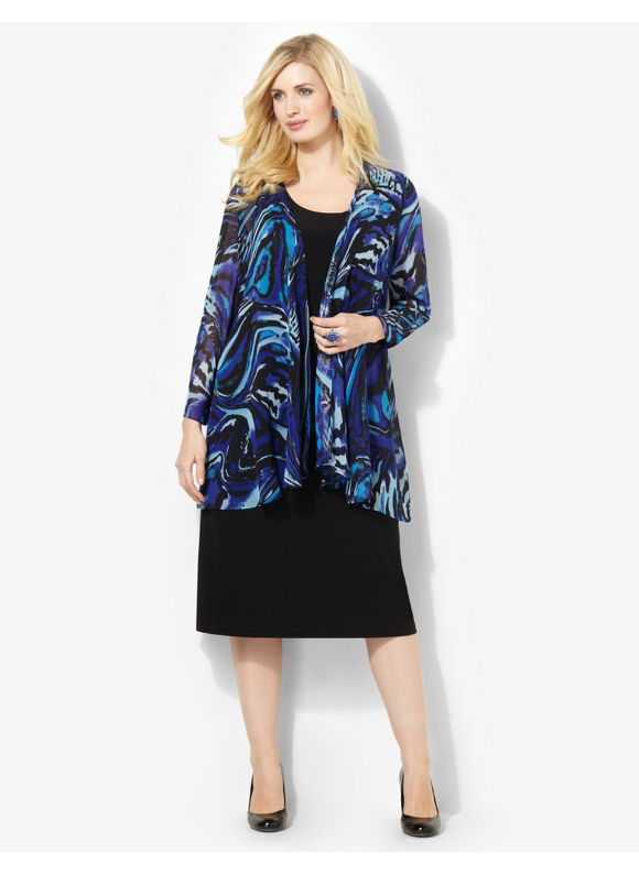 Plus Size Paintswirl Jacket Dress Catherines Princess Blue