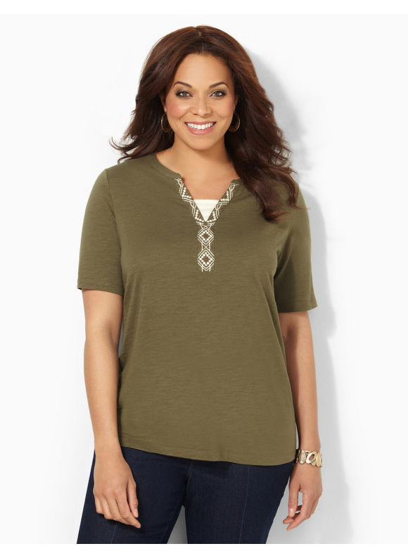 Image of Catherines Plus Size LayeredLook Top  Womens Size 1X Ivy Green