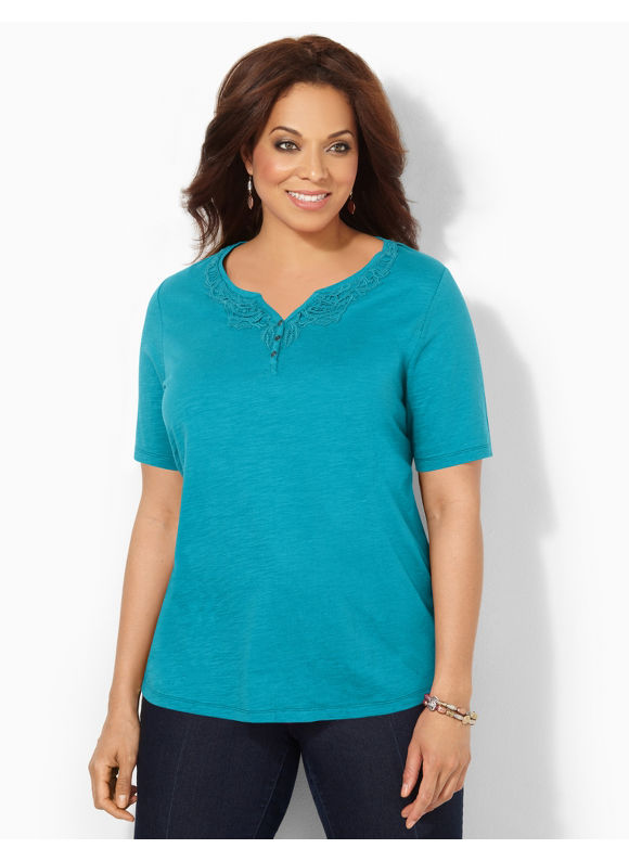 Image of Catherines Plus Size Fresh Medley Top  Womens Size 2X Enamel Blue