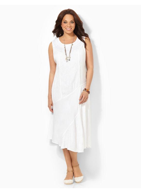 Image of Plus Size Breezy Crochet Dress Catherines Womens Size 1X White