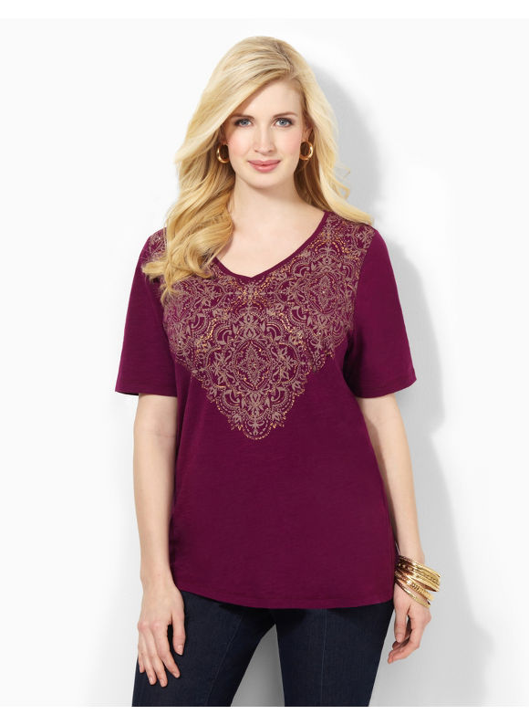 Catherines Plus Size Imperial Tee -  Plumberry