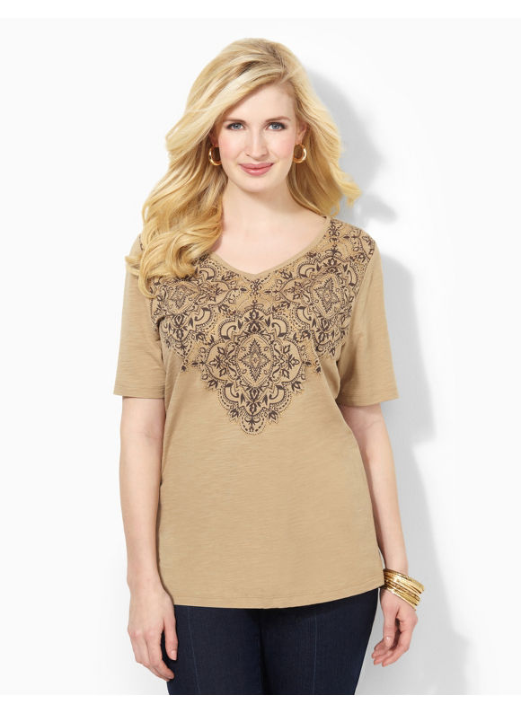Image of Catherines Plus Size Imperial Tee  Womens Size 2X Desert Khaki