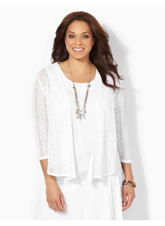 Image of Catherines Plus Size Breezy Crochet Cardigan  Womens Size 1X White