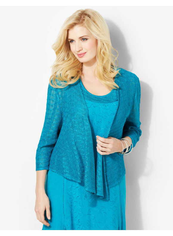 Image of Catherines Plus Size Diamond Crochet Cardigan  Womens Size 1X Deep Blue