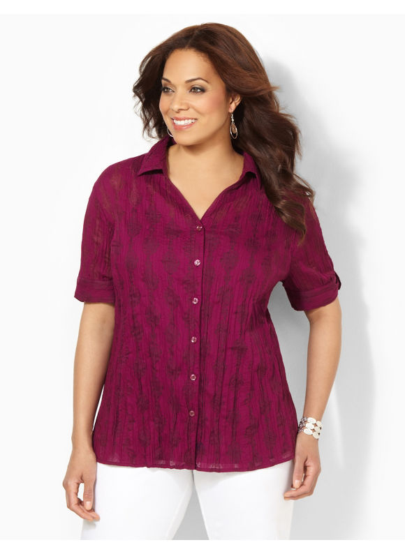 Image of Catherines Plus Size Crinkle Buttonfront  Womens Size 1X Plumberry