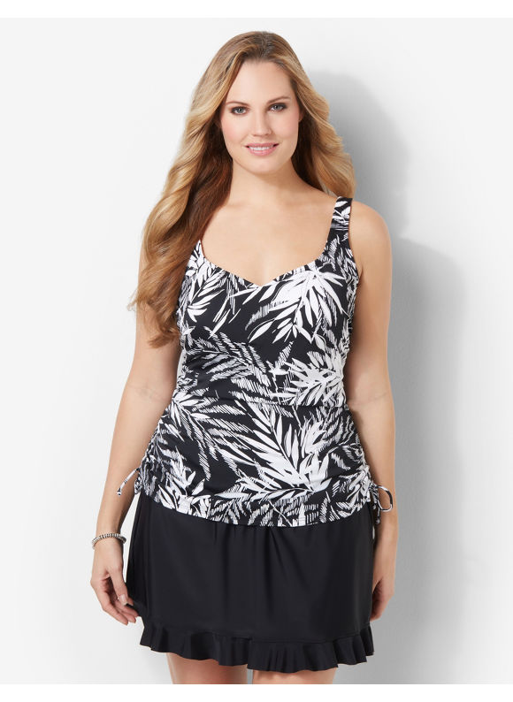 Image of Catherines Plus Size Tropical Breeze Swim Tank  Womens Size 18W Black