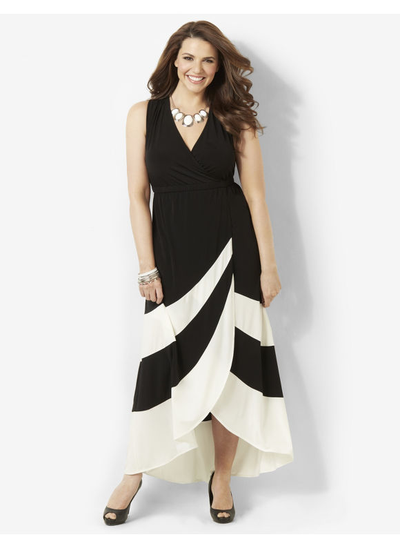 Image of Catherines Plus Size Striped Noir Maxi  Womens Size 1X Black