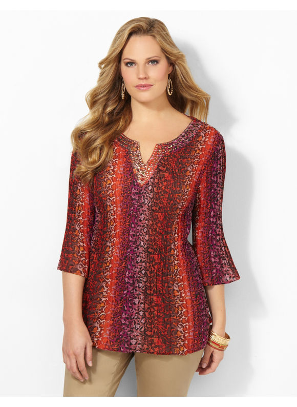 Catherines Plus Size Electric Leopard Blouse - Molten Lava