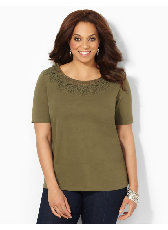 Image of Catherines Plus Size Cirque Tee  Womens Size 2X Ivy Green
