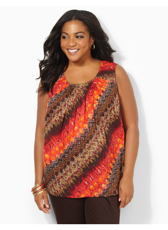Image of Catherines Plus Size Blaze Of Glory Shirt  Womens Size 2X Multi Color
