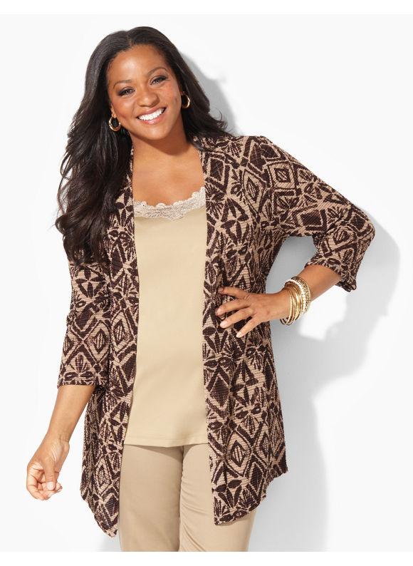 Catherines Plus Size Cascade Cardigan - Women's Size 3X, Desert Khaki