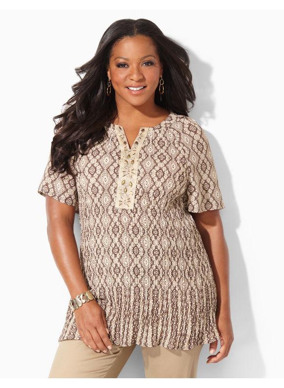 Image of Catherines Plus Size Aura Pleated Blouse  Womens Size 0X Desert Khaki