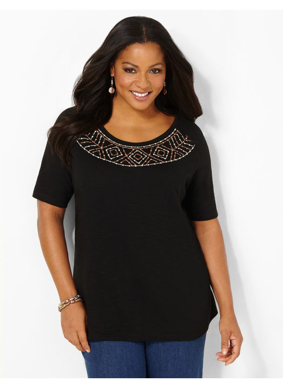 Image of Catherines Plus Size Touch Of Embroidery Top  Womens Size 3X Black