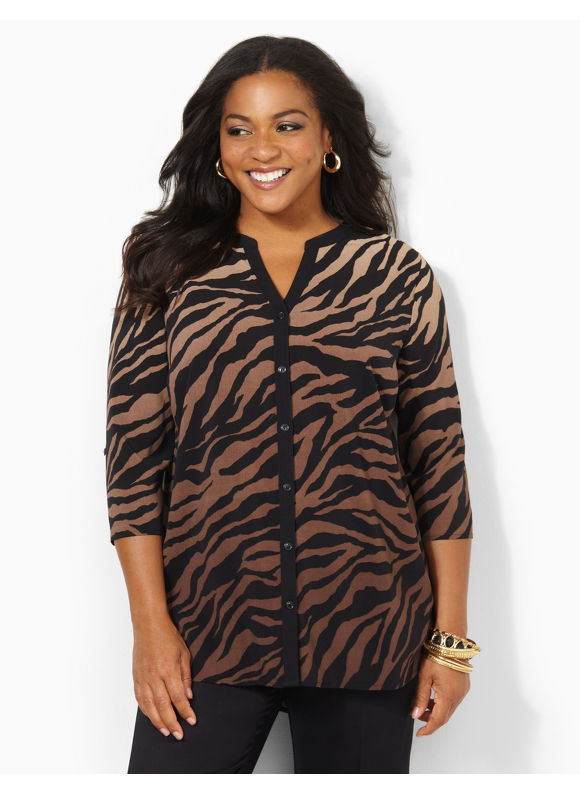 Image of Catherines Plus Size Silky Safari Blouse  Womens Size 1X Black