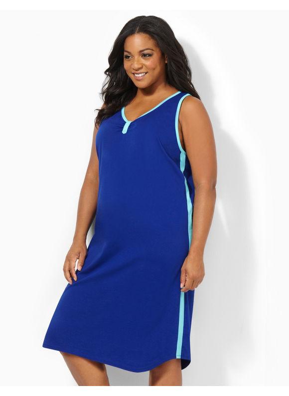 Image of Catherines Plus Size Even Keel Sleepshirt  Womens Size 0X Dark Blue