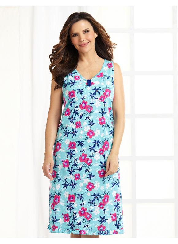 Image of Catherines Plus Size Take Me Away Sleepshirt  Womens Size 1X Aqua