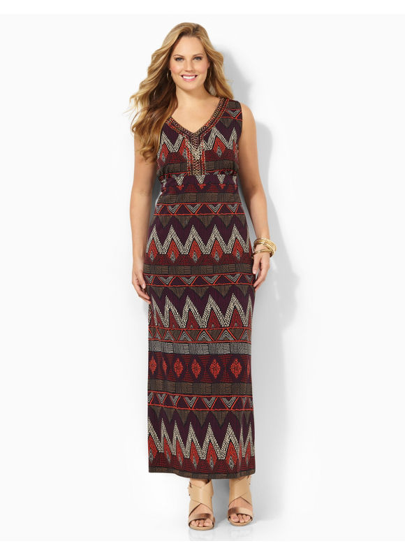 Image of Plus Size Tribal Tone Maxi Catherines Womens Size 2X Molten Lava