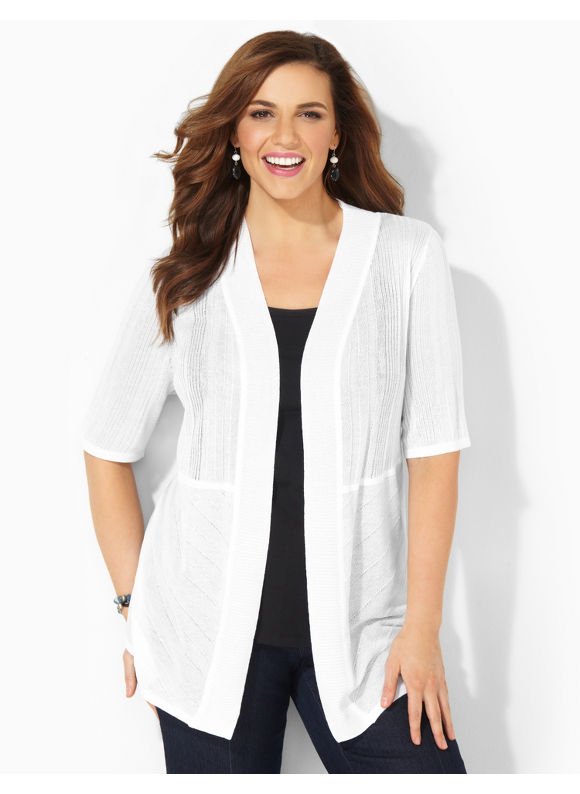 Image of Catherines Plus Size Bali Breeze Cardigan  Womens Size 1X2X3X WhiteBlack